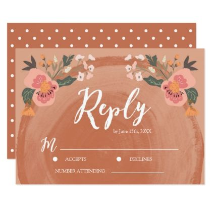 #Brown Wood Rustic Floral Wedding RSVP Reply Card - #weddinginvitations #wedding #invitations #party #card #cards #invitation #country