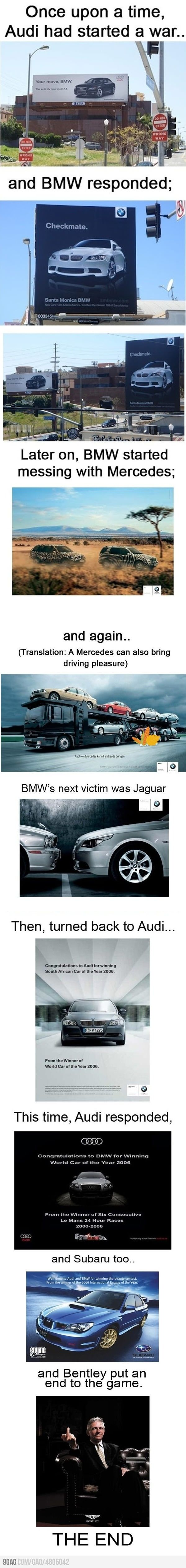 Audi vs BMW. One of the greatest battles in advertising history .
