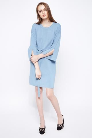SPLIT SECOND   Knit Tunic Dress With Slit Flare Sleeves