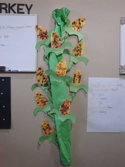 Cornstalk! Children glue down template and use either fall color tissue paper or fall color stamp pads with fingerprints to create their corn. Great Display!