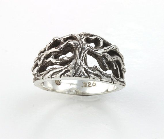 Sterling Silver Tree of Life ring by CavalloFineJewelry on Etsy