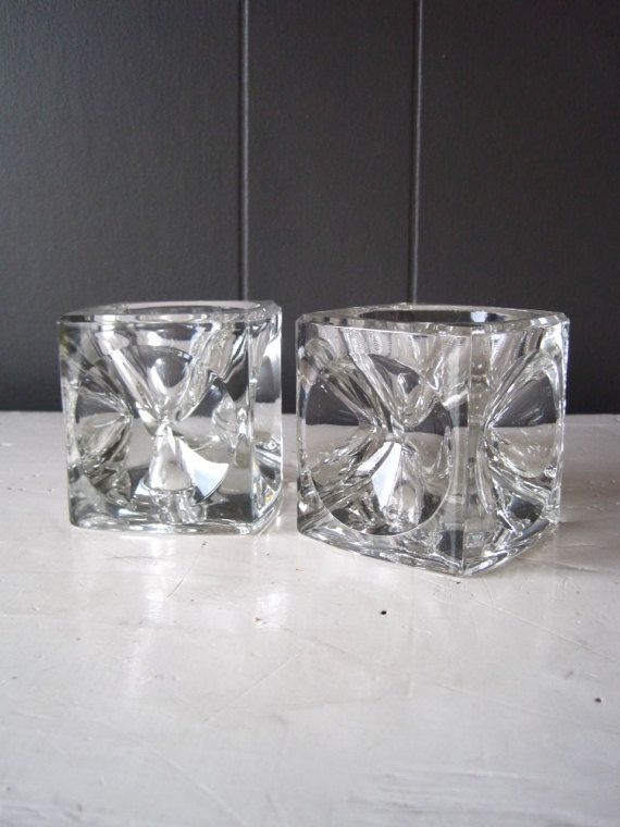 Pair of Czech Glass Candlestick Holders by DoceVikaVintage on Etsy