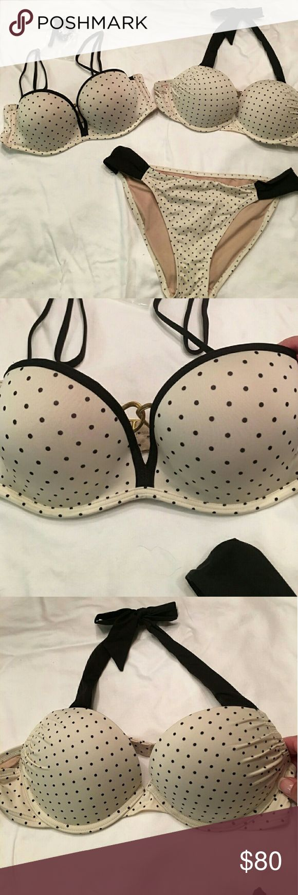 Adorable Polka Dot Bombshell VS Bikini Set SUPER GREAT DEAL!!! Two Victoria Secret Bombshell Push up Bikini Top w/ One Matching Bottom. Tags are cut out, but both tops are 34B and Bottom is a small. Offers Accepted!! Victoria's Secret Swim Bikinis