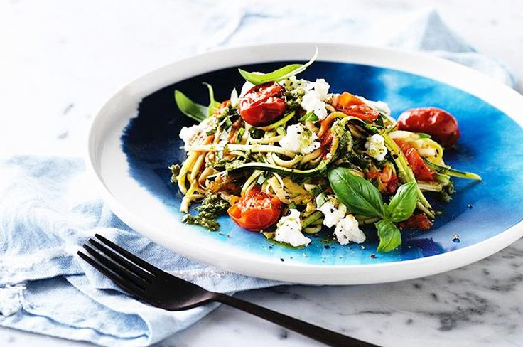 I grew up loving pasta – especially pesto pasta. This is the healthy version. It tastes just as good and won't leave you feeling bloated.  Tomato