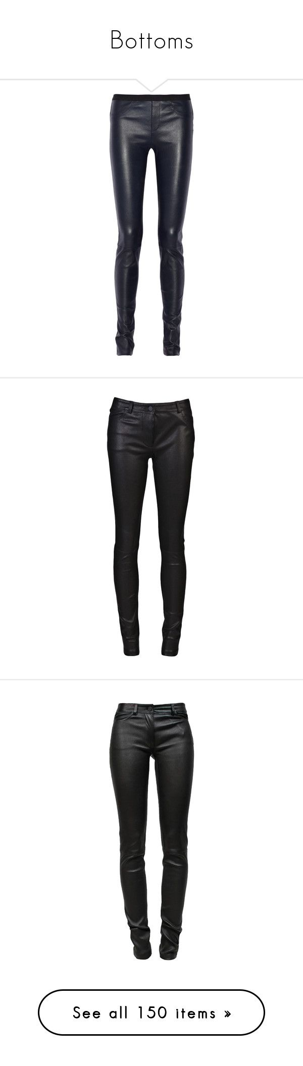 """""""Bottoms"""" by candygirllnm ❤ liked on Polyvore featuring shorts, jeans, trousers, pants, Leggings, leggings, helmut lang, clothing - pants, real leather pants and leather pants"""