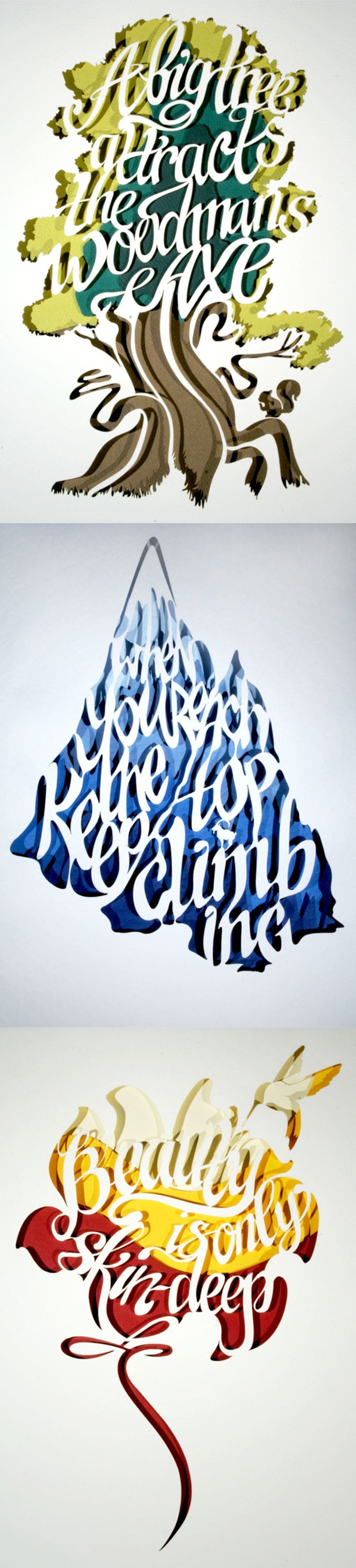 Click for more pics! | Proverbs: Layered Paper Cut Typography #paper #type