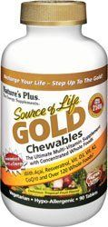 Source of Life Gold Chewables - 90 - Chewable by Nature's Plus. $34.85. Source of Life® GOLD Chewables - Tropical Fruit Source of Life GOLD Chewables deliver all of the outstanding wholesome  nutrition found exclusively in Source of Life Gold products. As with Source of  Life Gold Liquid, these irresistible chewables turn daily supplementation into  an exciting, flavor-filled experience. Delicious mango and mouthwatering  pineapple highlight a tropical fruit ...