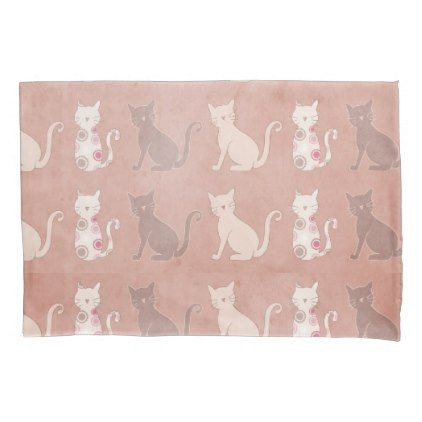 Cat Silhouette Pattern on Brown Pillow Case - patterns pattern special unique design gift idea diy