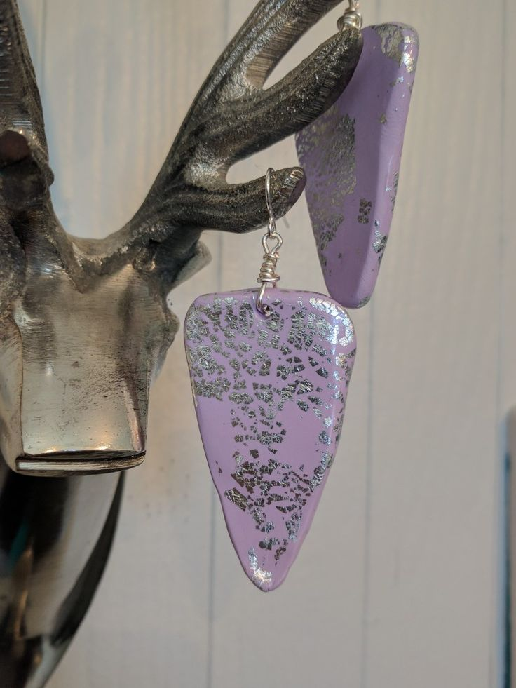 Super chunky hand-shaped clay earrings, gold leaf, dangle earrings, silver leaf, big earring, BThirtyNine