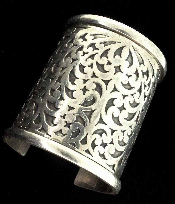 Large LOIS HILL Classic Signature Scroll Sterling Statement Bracelet CUFF 159g #LoisHill #Cuff
