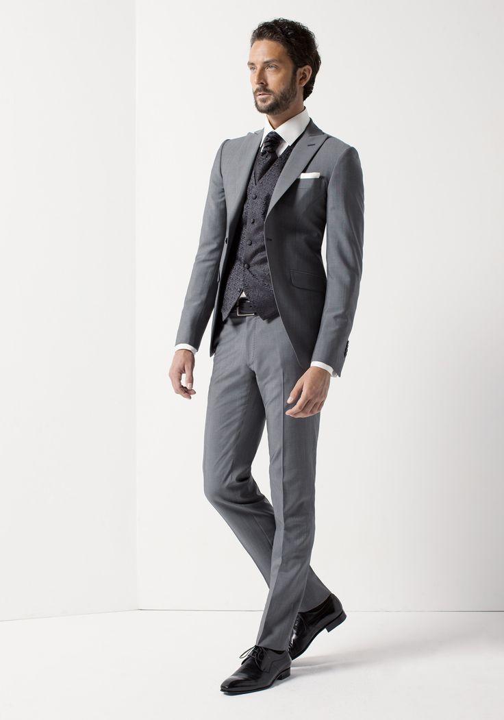 Costume gris mariage | Costume de marié gris avec gilet pour homme - Jean De Sey