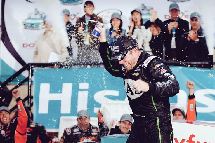 A Dale's Pale Ale beer shower in Victory Lane!
