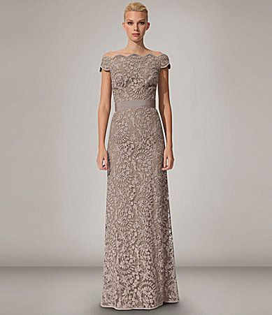 Love this dress but color is probably too blah. Tadashi OfftheShoulder Gown #Dillards