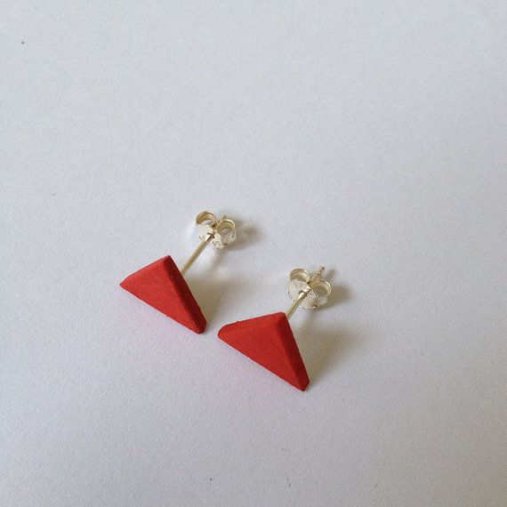 Red Earrings  Minimal Stud  Wood Earring Stud  by SilenceWood