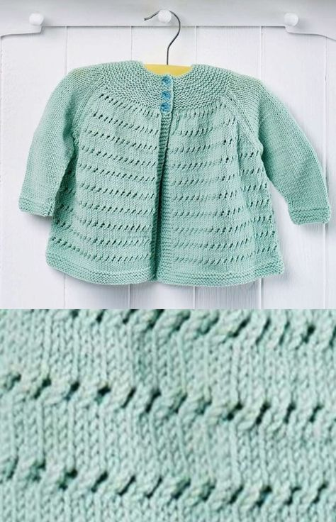2ca6a44ee Free Knitting Pattern for an Easy Yoke Baby Cardigan