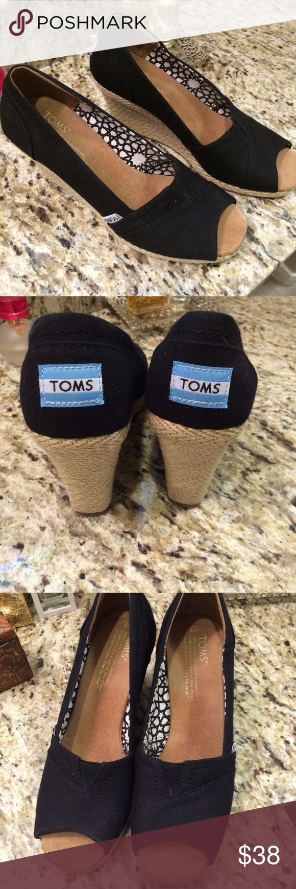 Toms Peep Toe Wedges Black Peep Toe Wedges, only worn once or twice, excellent condition. Toms Shoes Wedges