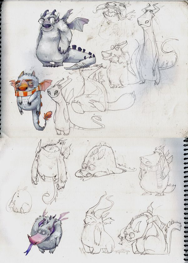 Character Design - nice demonstration of how a character can evolve from sketch to sketch.