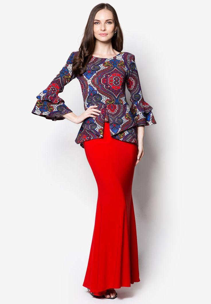 Peplum Midi Kebaya from Zuco Fashion in red_1