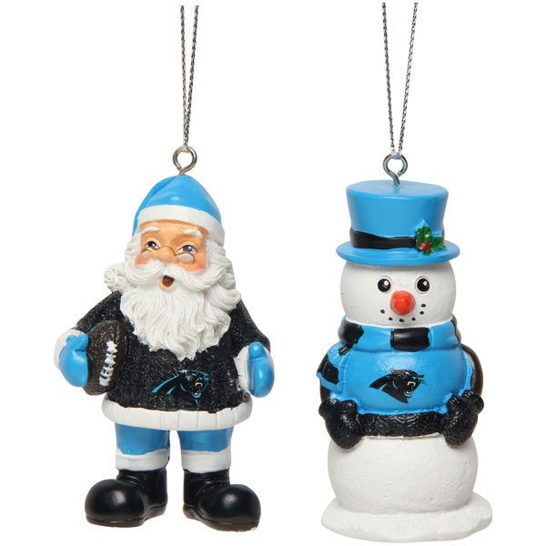 Carolina Panthers Saint Nick and Snowman 2-Pack Ornament Set - $15.99