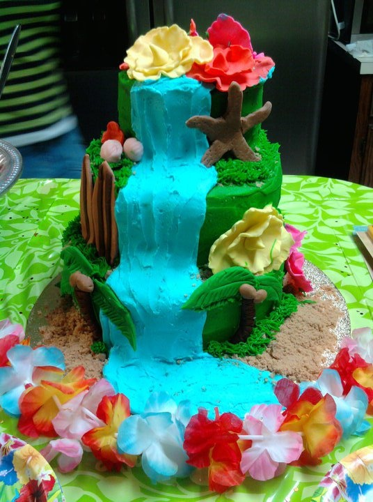 Three-Tier Luau Cake