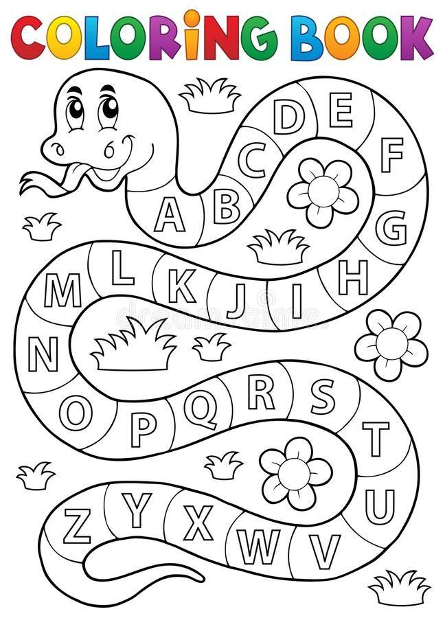 Foto circa Serpente del libro da colorare con il tema di alfabeto - illustrazione di vettore eps10. Illustrazione di lettera, impari, tematico - 65596159