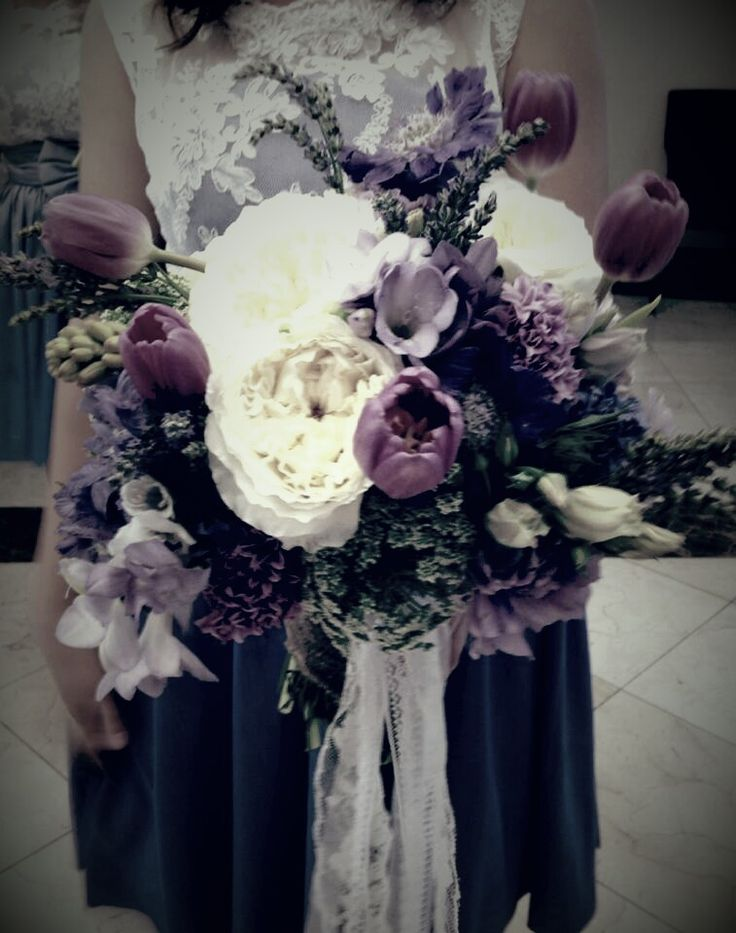 Bridesmaid bouquet - fragrant Tea roses, tulips, freesias, hyacinth, lavender, sweet-smelling tuberose, Queen Anne's Lace....