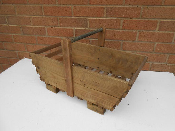 vintage artisan made old wooden garden trug basket open box ebay - Open Garden Decor