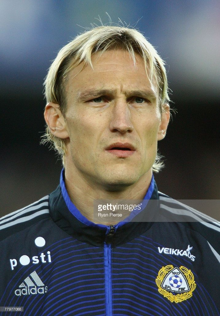 Sami Hyypia of Finland looks on before the Euro 2008 Group A qualifying match between Finland and Azerbaijan at the Olympic Stadium on November 17, 2007 in Helsinki, Finland.