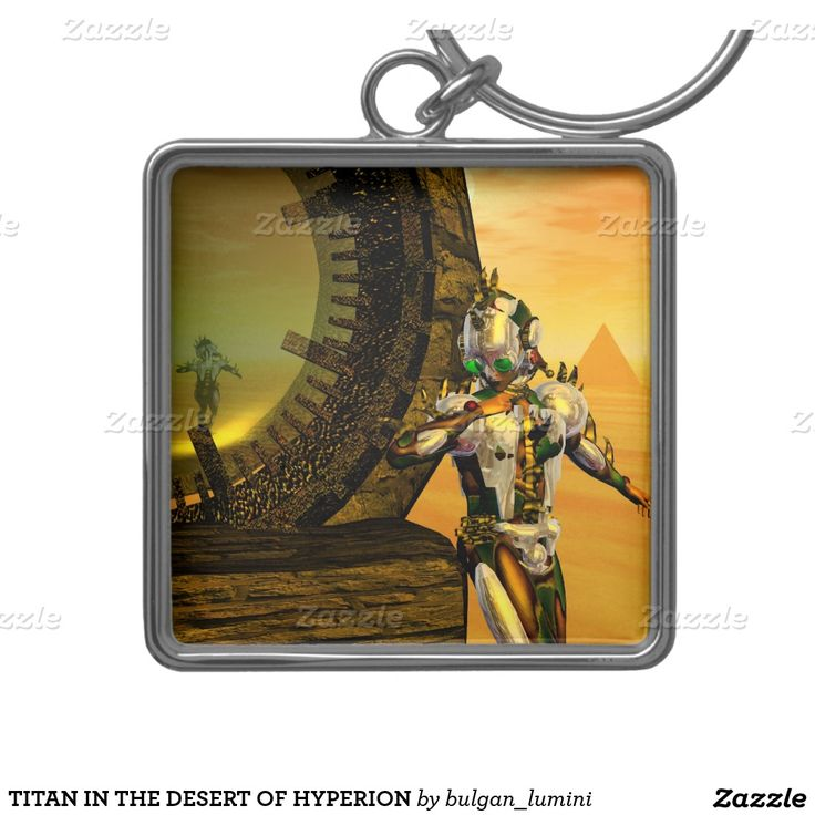 TITAN IN THE DESERT OF HYPERION Silver-Colored SQUARE KEYCHAIN