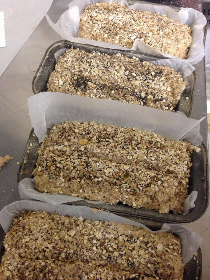 Our gorgeous super healthy bread ready for the oven!