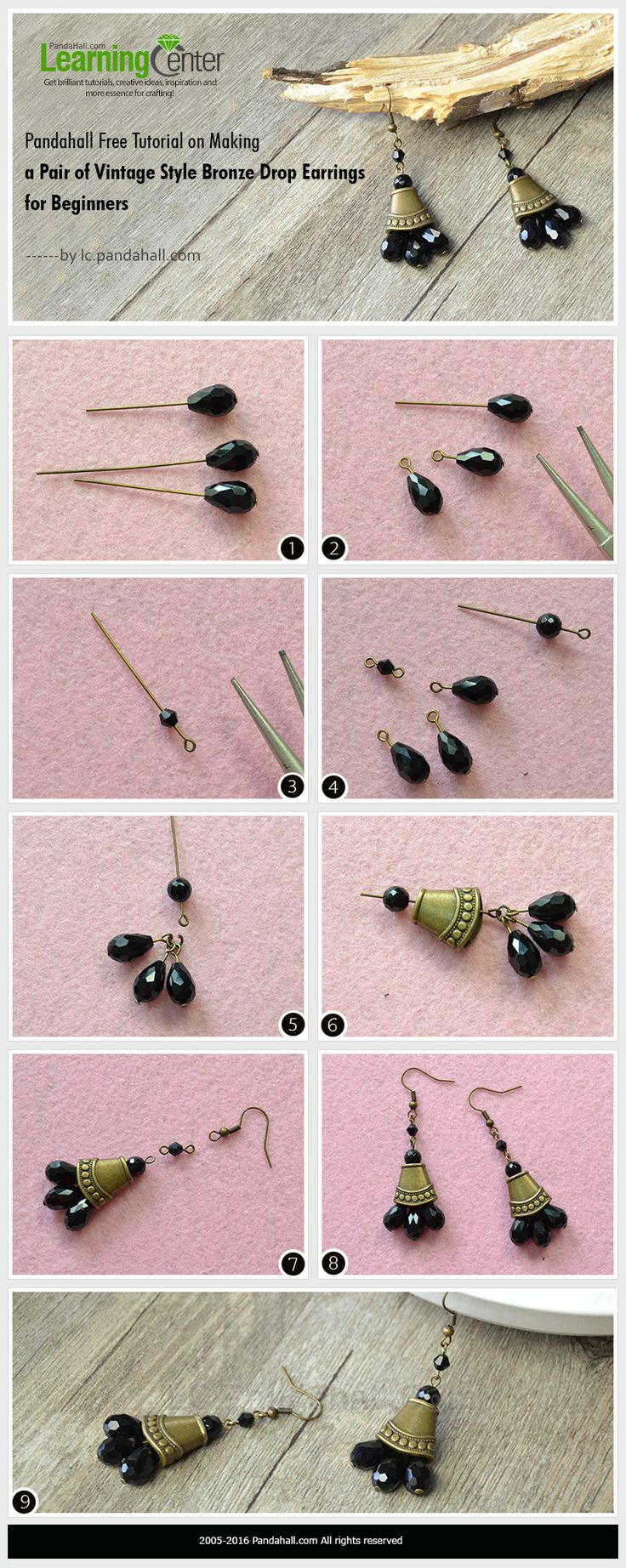 Pandahall Free Tutorial on Making a Pair of Vintage Style Bronze Drop Earrings for Beginners PandaHall Promotion use coupon code JunPINEN5OFF for 5% off for your orders, valid time from June 20 to June 27. #earrings #dangleearrings #pandahall