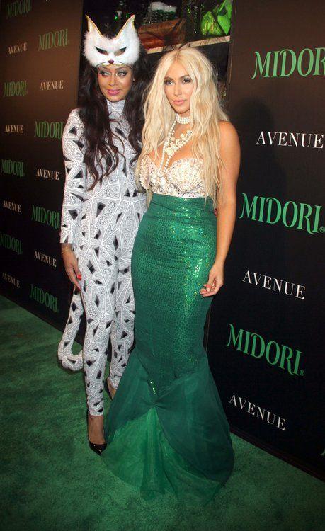 BFF's Kim Kardashian and La La Anthony got their Halloween groove on last night at the Midori Halloween bash in NYC.