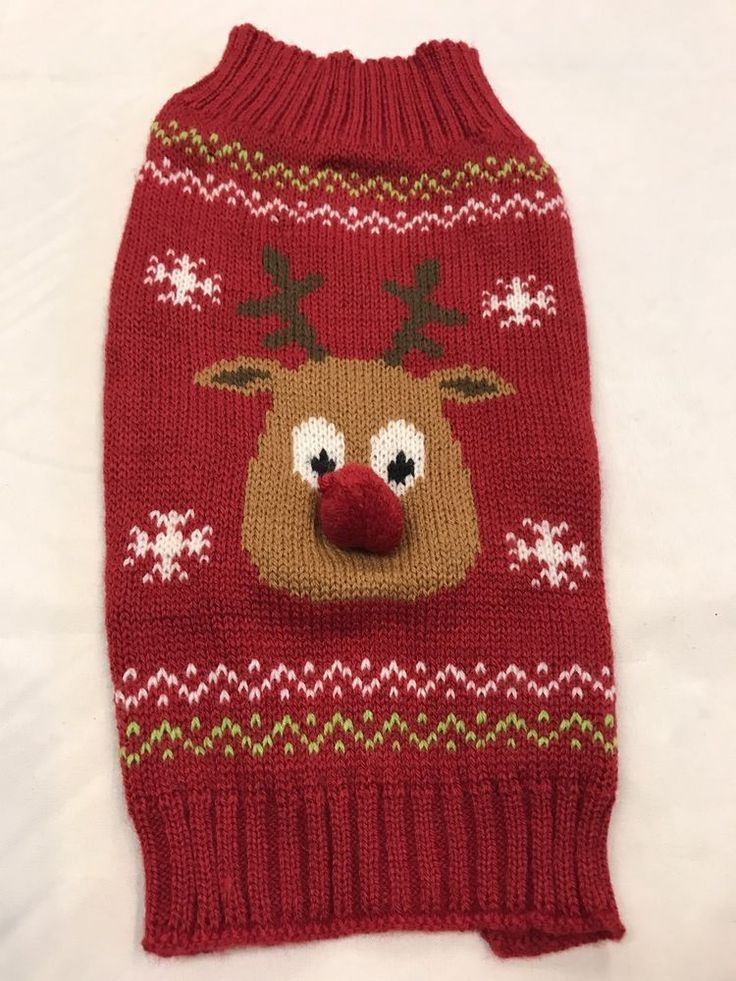 Pet Clothes Dog Christmas Sweater Size M Knitted Red Brown Reindeer Red Nose  | eBay