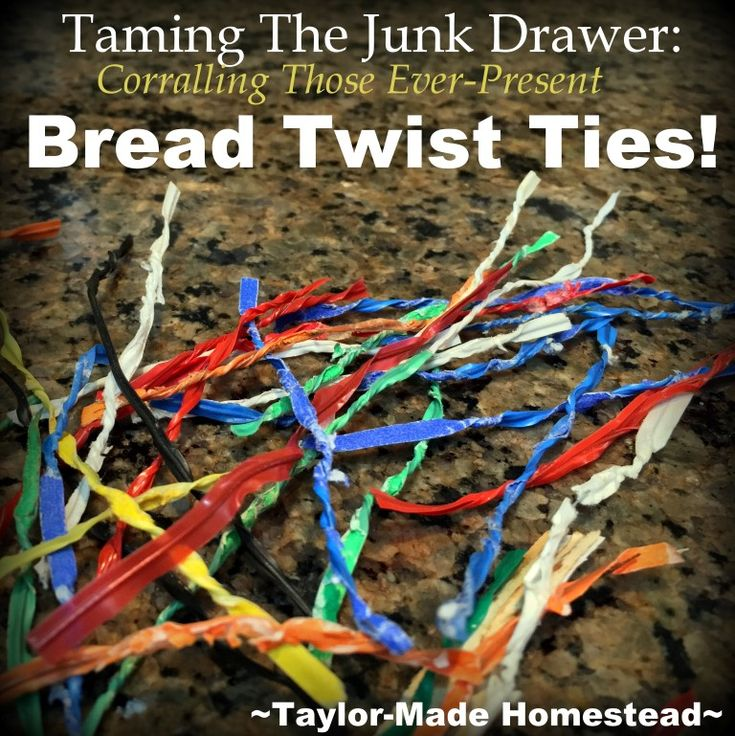 Is your junk drawer cluttered? What to do with all those plastic-coated bread twist ties? Check out this easy storage solution #TaylorMadeHomestead