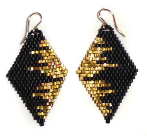 diamond drop earrings, black/gold cityscape #brickstitch …seed bead                                                                                                                                                                                 More