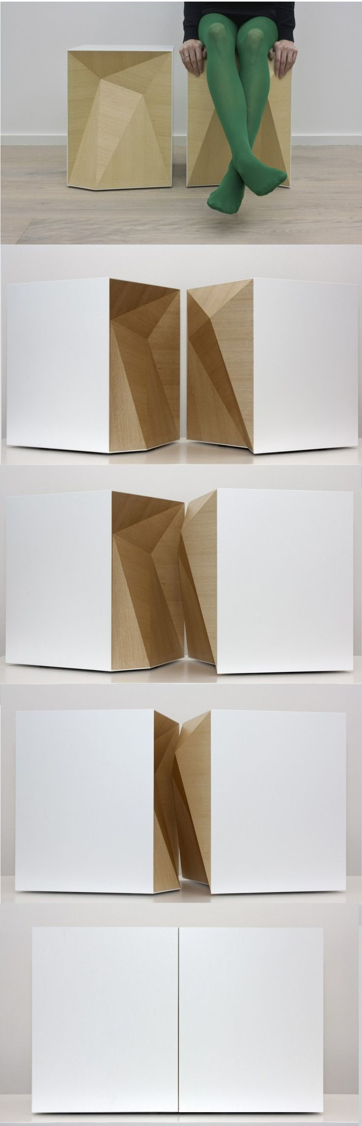Tabouret, Within par Mattias Stenberg Tabouret simple à première vue pourtant il se sépare tel deux pièces d'un puzzle. Emboitement et donc mobile qui donne à la fois un style moderne et authentique.