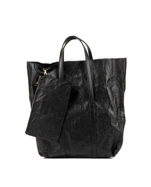 ZILLA Black shopper with handles hammered leather leather lining coin purse included Size: 44x49x15 cm