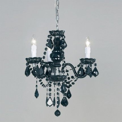 308 3BL GBP9504 Stunning 3 Light Black Acrylic Chandelier With Chrome Metal Parts