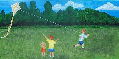 children playing with a kite -Adam Emory Albright