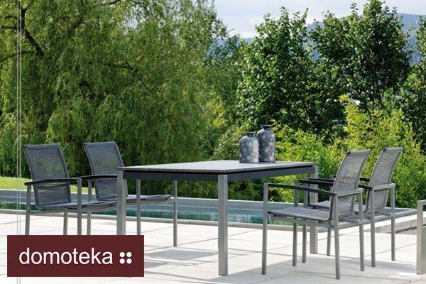 LAZY DINING nowoczesne meble ogrodowe. Cztery wygodne krzesła strunowe i duży stół z blatem ze szlifowanego granitu to idealne meble do nowoczesnego wnętrza, na taras lub do ogrodu. Krzesła odporne na działanie niekorzystnych czynników atmosferycznych. Odporne na działanie wody i promieni UV. Propozycja od Willow House.