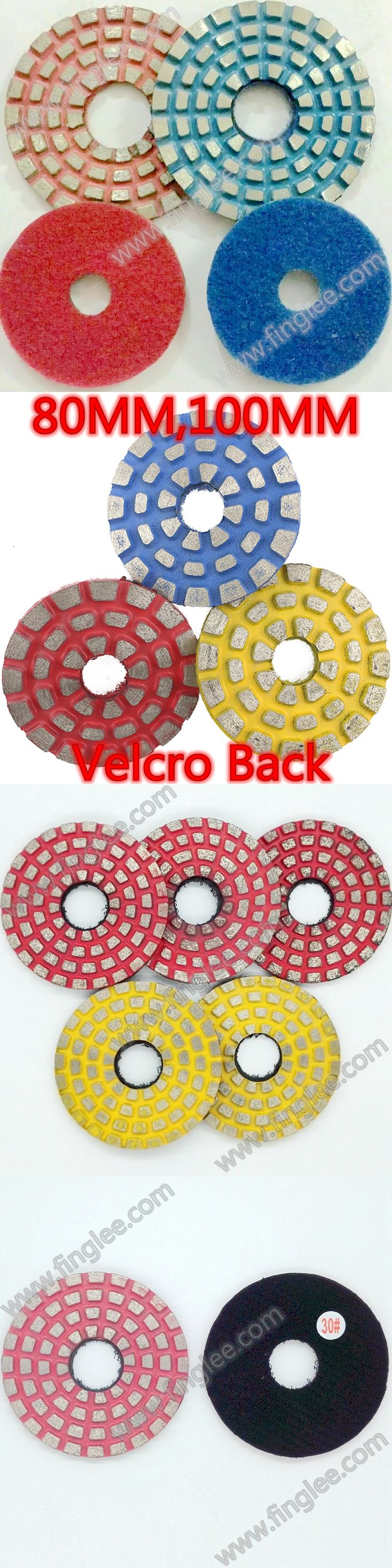 FINGLEE 3 Inch Polishing Pads 80 mm Metal Bond Granite Polishing Pads Flexible Diamond Polishing Pad Grit 30#,50#,100#,200#