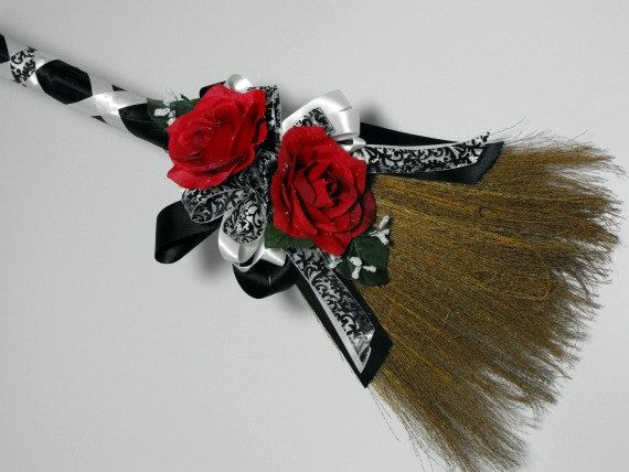 Customized Wedding Brooms by poseysandpetals on Etsy, $29.99