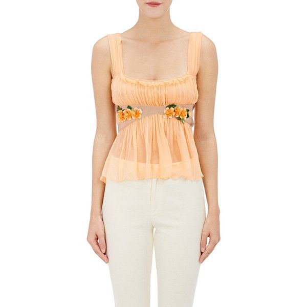 Alberta Ferretti Women's Embellished Sleeveless Crop Blouse ($569) ❤ liked on Polyvore featuring tops, blouses, no color, crop top, ruffle crop top, flower blouse, sheer crop top and beige crop top