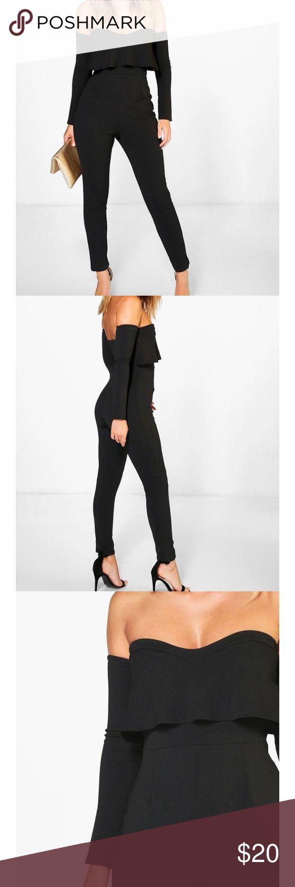 Black jumpsuit Black jumpsuit with off the shoulder sleeves that you can remove brand new never worn. Adorable on. Boohoo Other