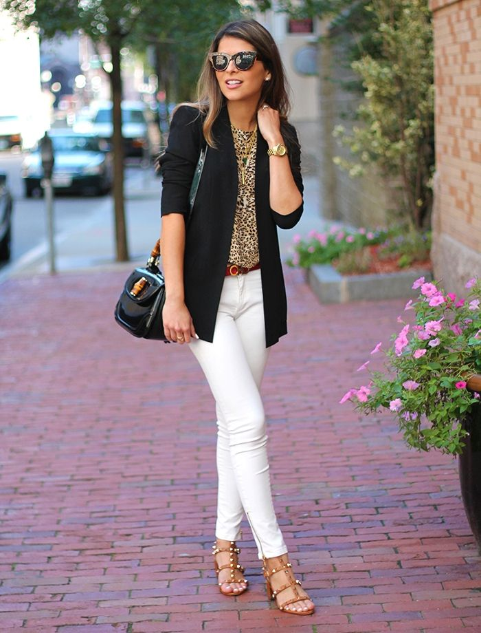 studded sandals with office outfit