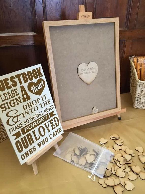 Personalised drop top guestbook 100 x hearts package includes sign pine frame gold plaque