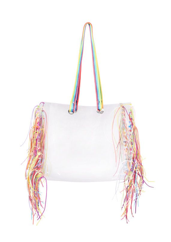Beach bag transparent bag rainbowtape clear handbag shopping tote bag oversized boho fringe bag tassels tassles harajuku bag neon beach tote