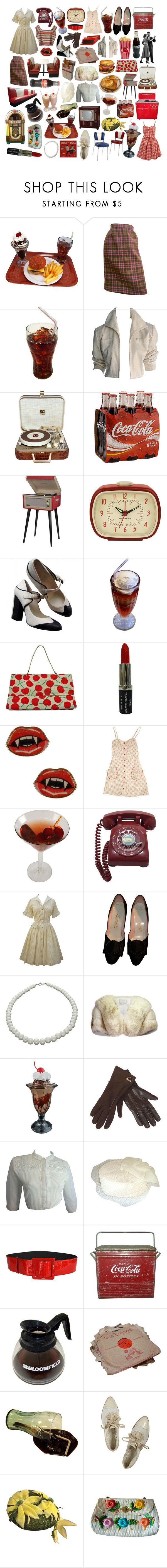 """1950s diner"" by chloesuttonchoi ❤ liked on Polyvore featuring Bill Blass, YSL RIVE GAUCHE, RCA, Dot & Bo, Kikkerland, Chanel, Manic Panic NYC, NEXTE Jewelry, Neiman Marcus and Duluth Pack"