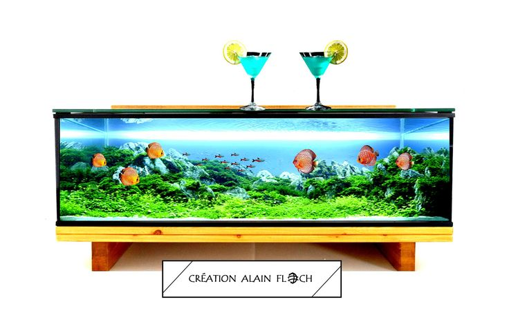 TABLE BASSE DESIGN AQUARIUM / VIVARIUM PARADISIO LED SANS FIL : Meubles et rangements par vpadesign-mobilier