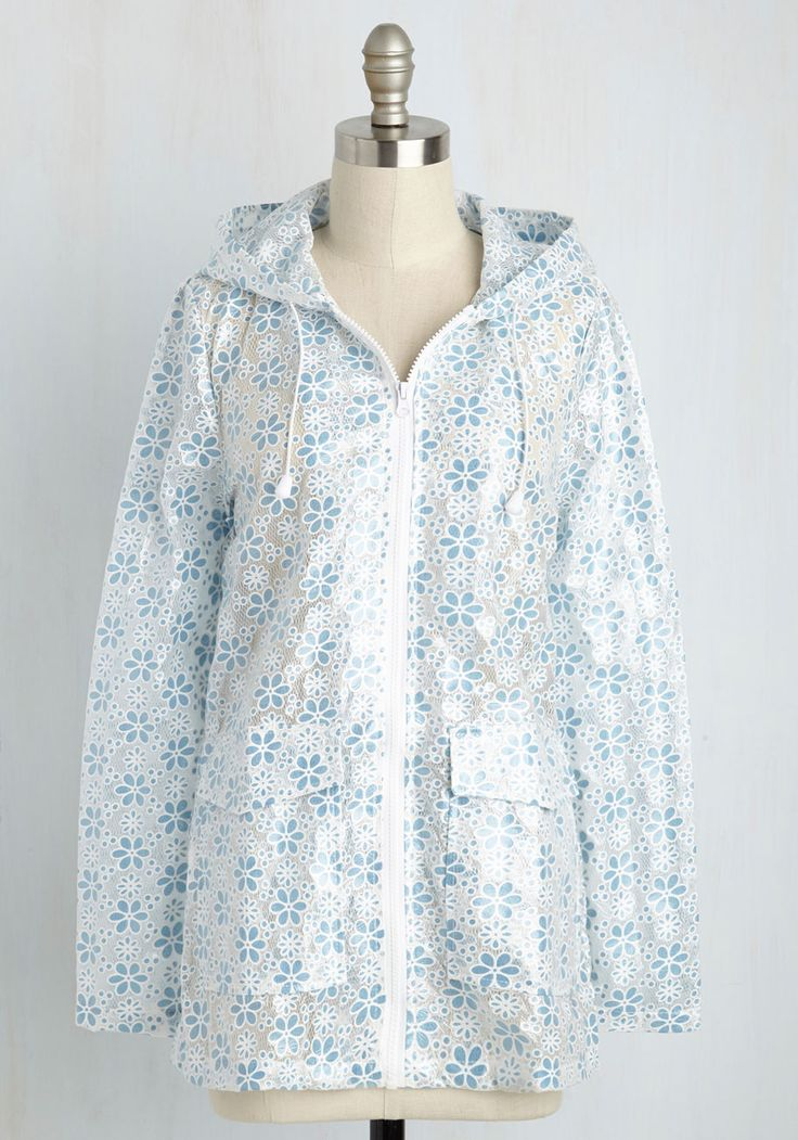 Flower Showers Rain Coat in Blue. Welcome the rain with your splashy-go-lucky attitude and this white raincoat! #white #modcloth